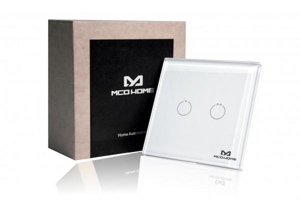 MCO Home Glas-Wandschalter GEN 5 (2 Tasten) , Britischer Standard