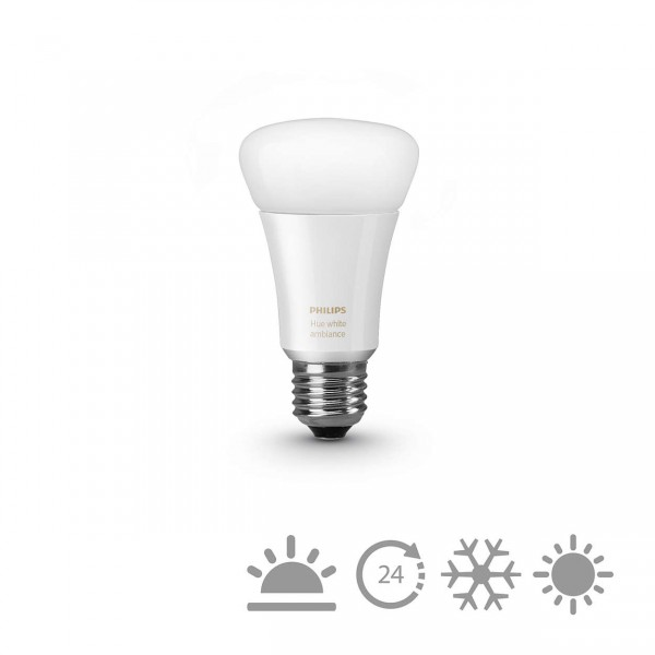 Philips Hue LED Lampe E27 White Ambiance, dimmbar